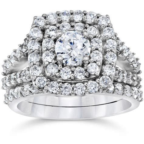 2 Carat Diamond Cushion Halo Engagement Wedding Ring Set