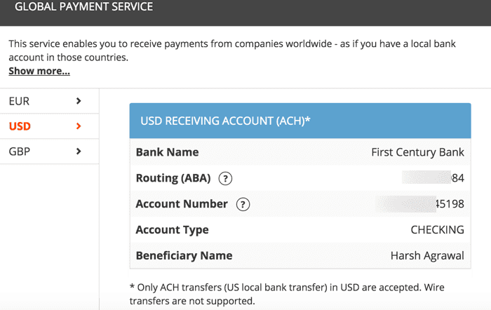 Get U.S. bank ACH information Amazon