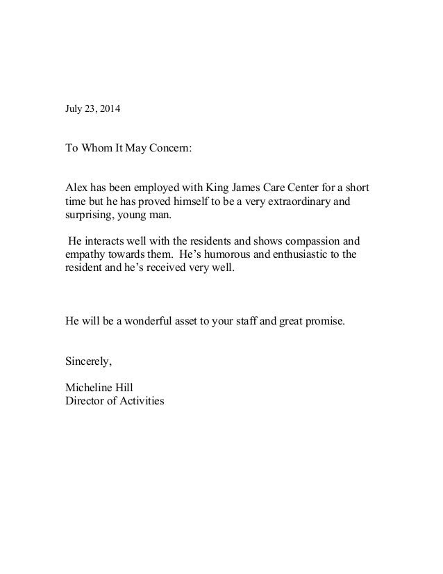 Letter If Recommendation King James