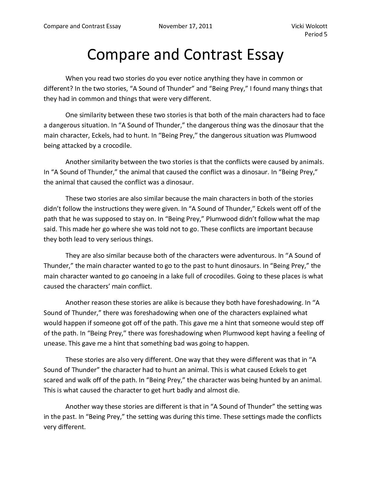 writing a compare and contrast essay about presentation of ideas quizlet