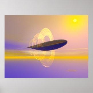 Hydronic Dirigible #1 Futuristic Art Poster