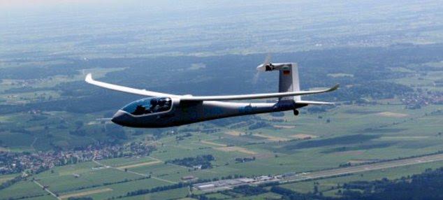 In  flight: The e-Genius soared  majestically over the countryside