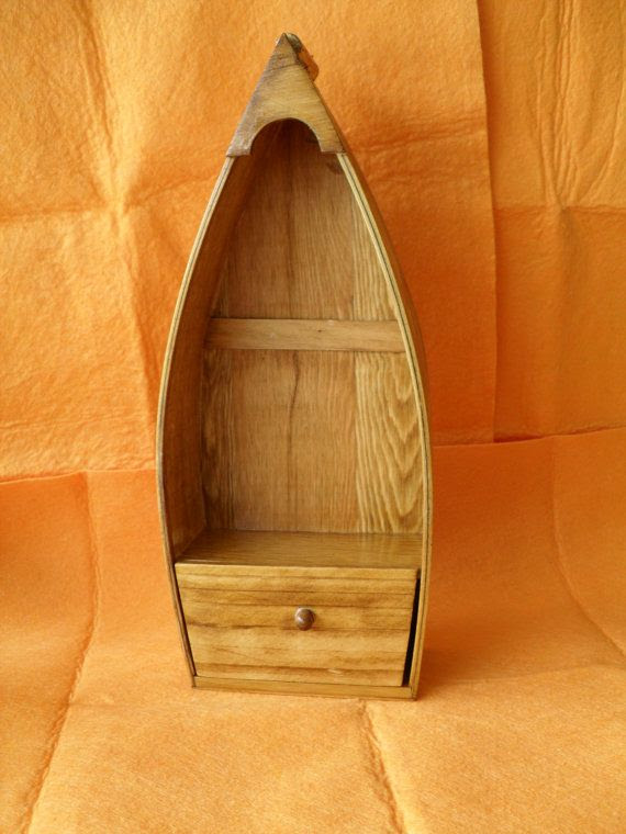 Hanging Wood Boat with Shelf and Drawer by EddiesWoodWorks on Etsy, $