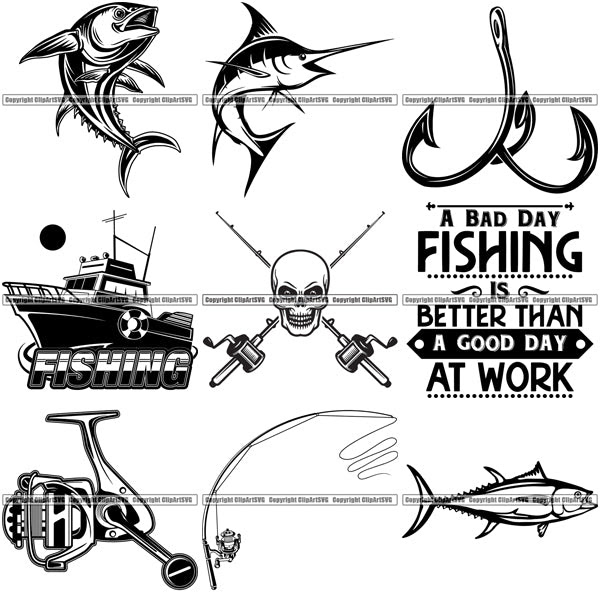 Download 9 Deep Sea Fishing Design Elements Sport Game Fish Fisherman Tournament Bundle Clipart Svg Clipart Svg