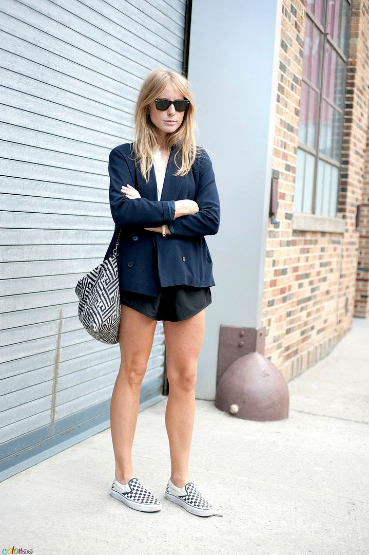 Le Fashion Blog -- 15 Ways To Wear Checkered Vans Slip On Sneakers -- Street Style: Blazer And Shorts -- Via Color Stalker -- photo 9-Le-Fashion-Blog-15-Ways-To-Wear-Checkered-Van-Slip-On-Sneakers-Street-Style-Blazer-Shorts-Via-Color-Stalker.jpg