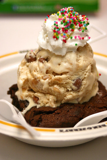 Clusterfluff ice cream on a brownie