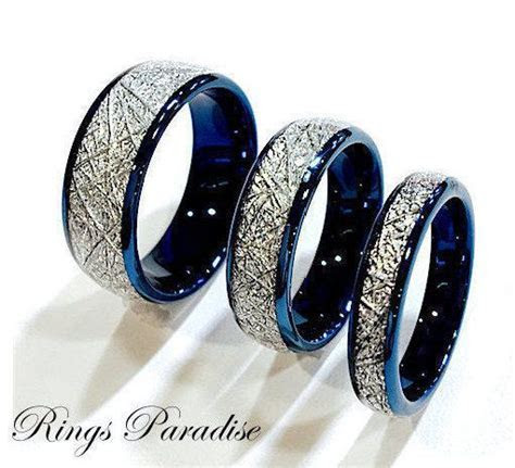 Details about Blue Meteorite Inlay Tungsten Wedding Bands
