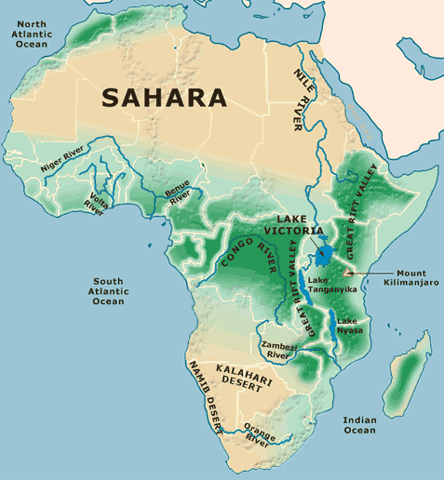 Africa Physical Feature Map | Africa Map