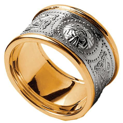 Celtic Ring   Men's White Gold with Yellow Gold Trim
