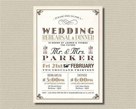 Printable Wedding Rehearsal Dinner Invitation \ Vintage