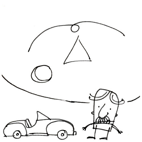 Doodle with man, car and motif