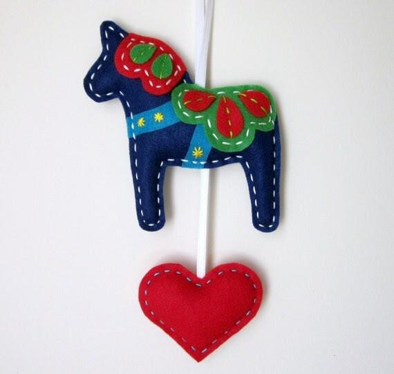 Eco Felt Dala Horse Plush Wall Hanging Cute MADE TO ORDER