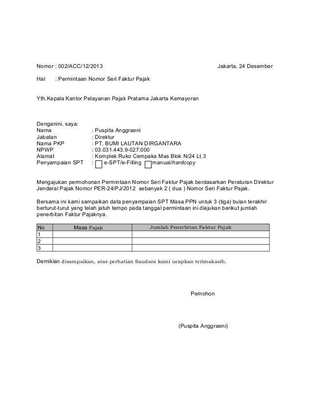 Contoh Surat Konfirmasi Faktur Pajak Surat W