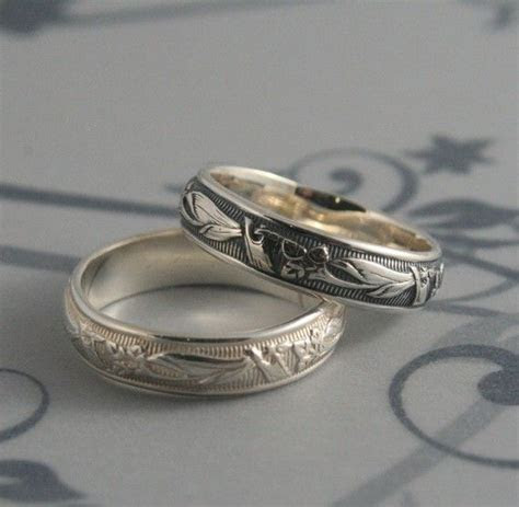 Vintage Style Ring  Lily Nouveau Ring  Men's Wedding Band