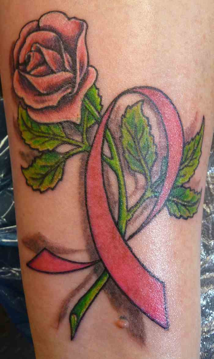 Red Rose And Ribbon Cancer Tattoo On Sleeve