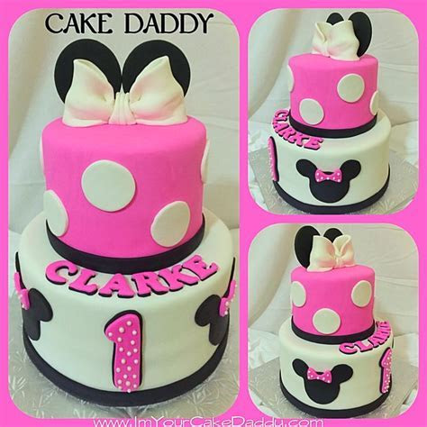 Minnie Mouse themed birthday cake for one year old