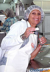 On the schedule was some volunteer work, helping box up food for the needy at Colel Chabad's Pantry Packers.