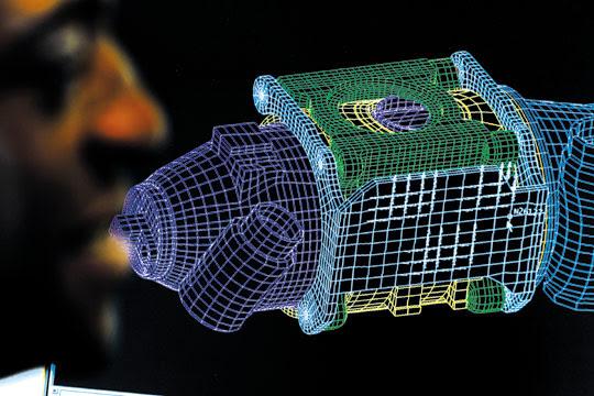 의료기기 부품의 3D 설계 도면.