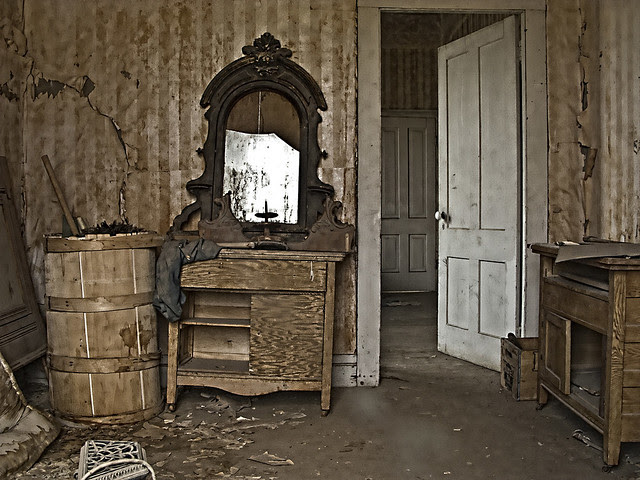 Broken bedroom mirror, Bodie ghost town Calif.