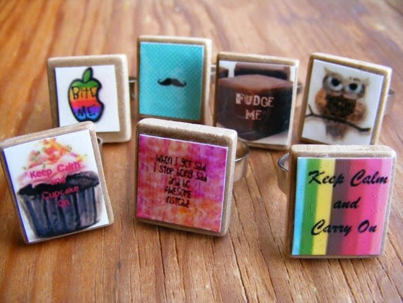 Rings Scrabble Tiles Your Choice of Design