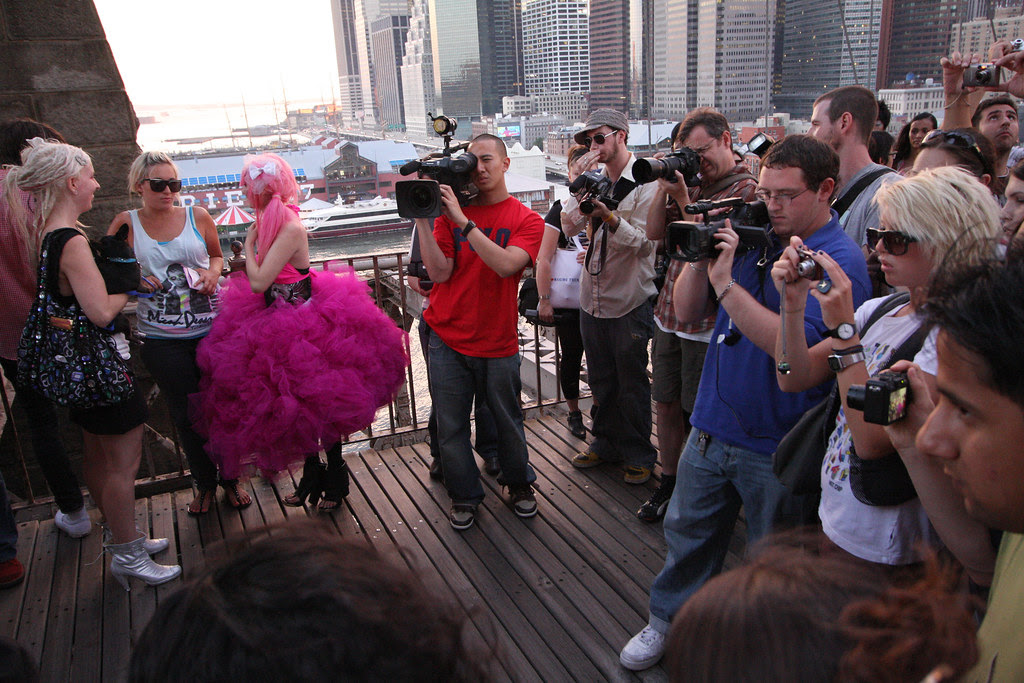 Fashion show on the Brooklyn Bridge
