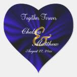 Wedding Day Dark Blue Satin | Personalize Heart Sticker