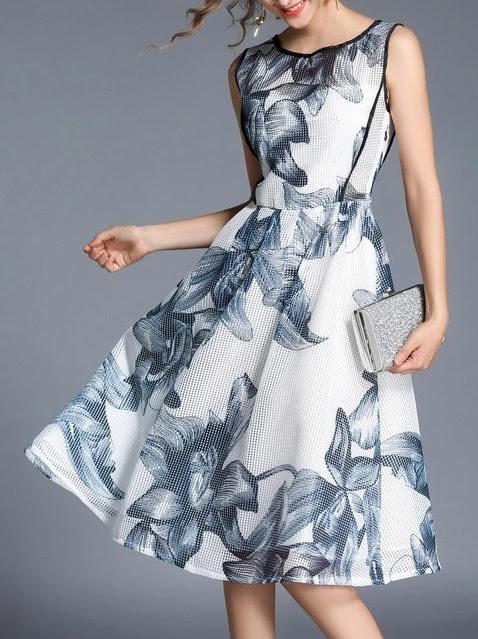 Flowers Print Mesh Dress