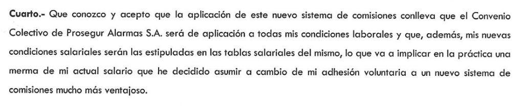 Punto cuatro del acta de renuncia 'voluntaria' al salario de los trabajadores.