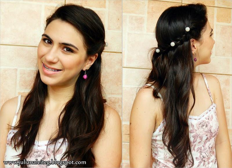 penteado romântico com pérolas feita de grampo acessório fashion juliana leite blog trança