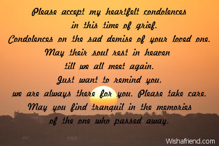 Please Accept My Heartfelt Condolences In Sympathy Card Message