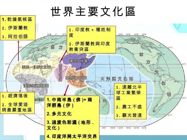世界主要文化區 1. 中南半島 ( 佛 )+ 南洋群島 ( 伊 ) 2. 多元文化 3. 過渡色彩濃 ( 地形 . 文化 ) 4. 印度洋與太平洋交界 5. 東西方往來十字路口 1. 經濟落後 2. 全球愛滋病最嚴重地區 1. 乾燥氣候區 2....