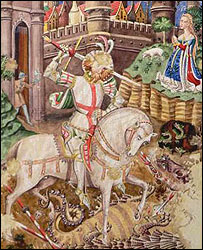 St George and the dragon (watercolour detail)