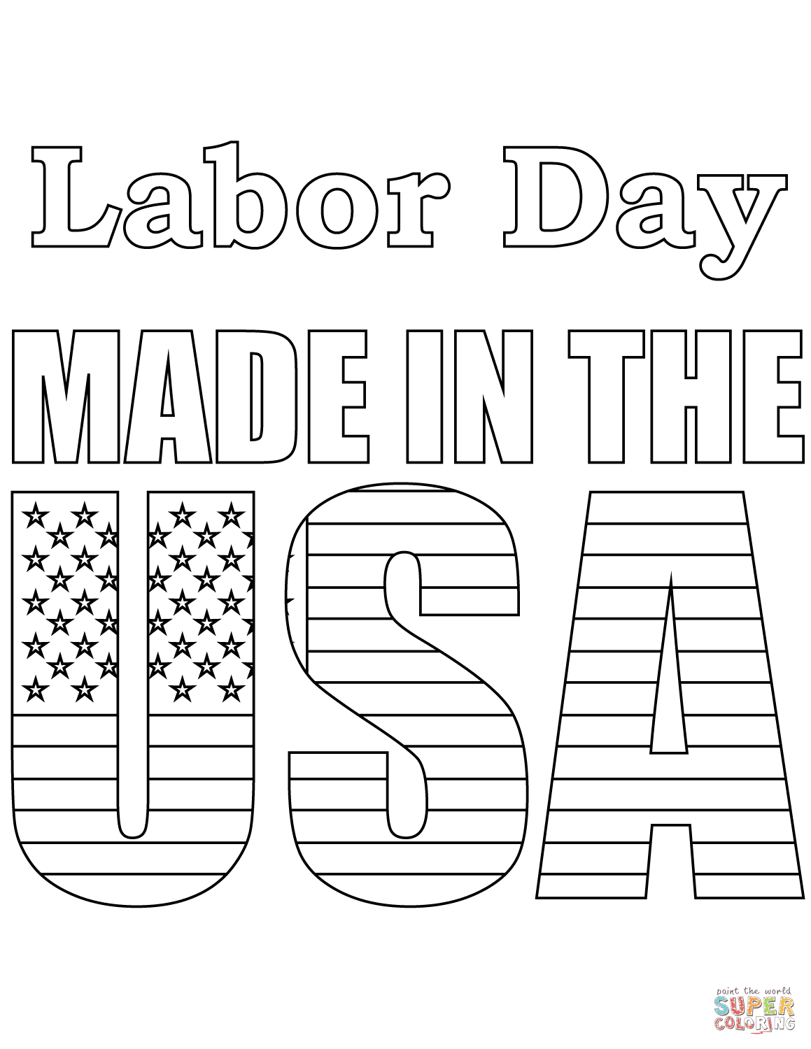 Labor Day - Made in the USA coloring page | Free Printable ...