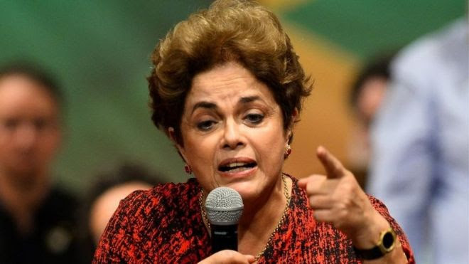 "Brazilian suspended President Dilma Rousseff speaks during a Workers"" Party rally in Brasilia on August 24, 2016."