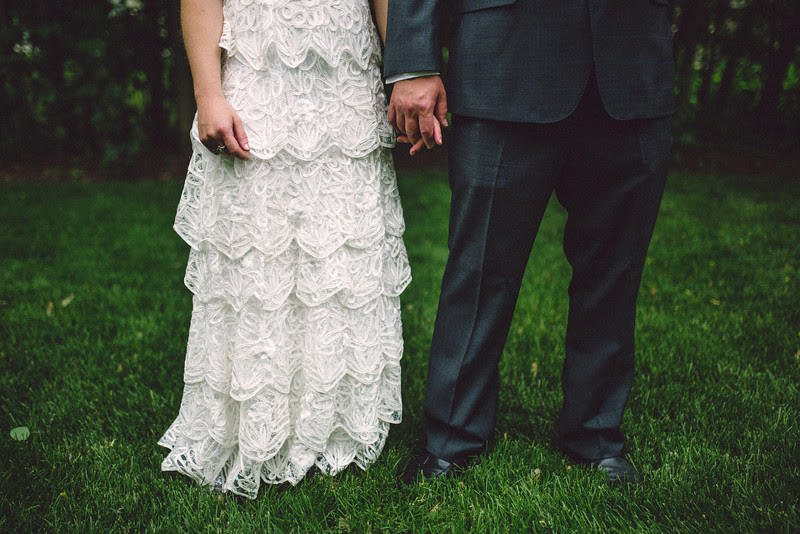 Family portraits that followed a small summer garden wedding ceremony in Rockford IL.