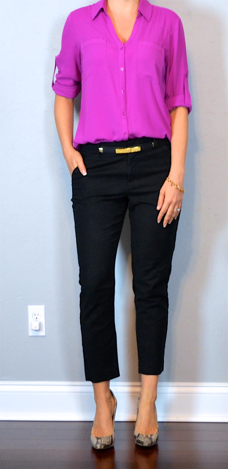 outfit post pink portofino shirt black cropped pant