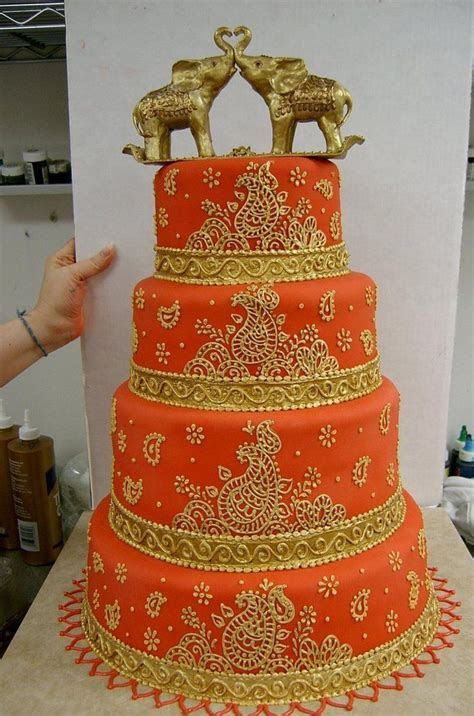 Red and gold indian / desi wedding cake. A little over the