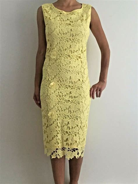 Yellow Floral Crochet Sleeveless Midi Formal Cocktail