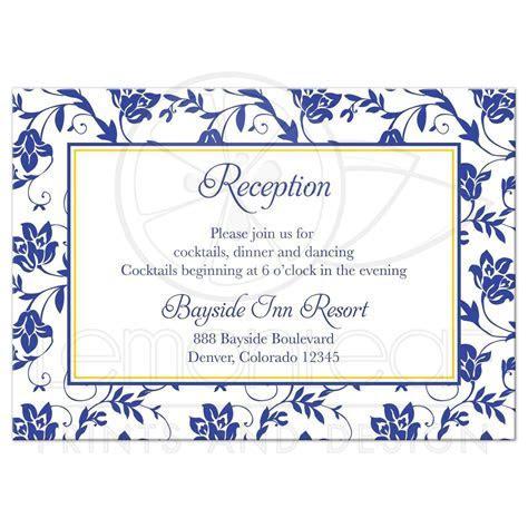 Wedding Reception Card Sunflower Royal Blue Damask