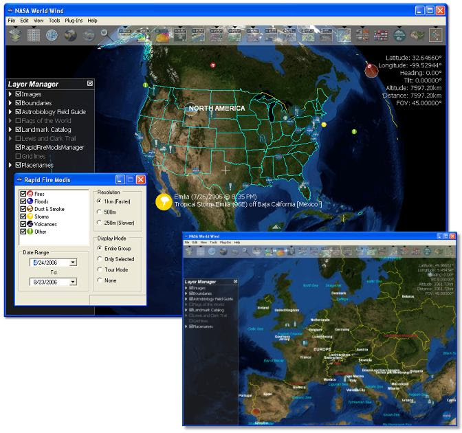 screen capture of NASA World Wind
