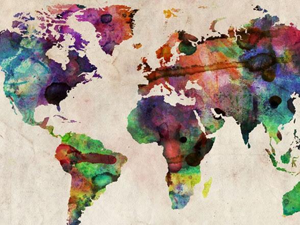 Urban Watercolor World Map