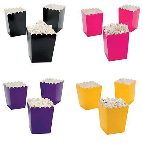 Mini Solid Popcorn Boxes   9 Colors Available (Set of 24