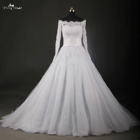 RSW737 Boat Neck Long Sleeve Lace Wedding Dresses Bateau