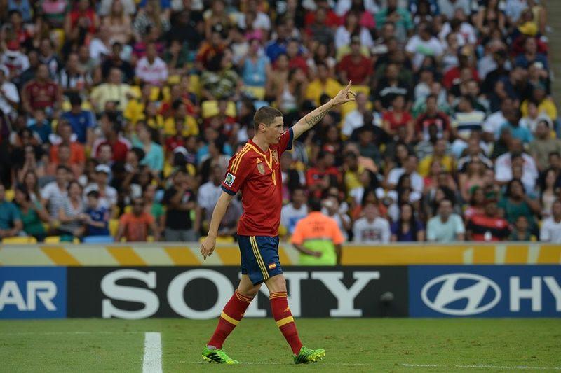 Fernando Torres comemora gol na vitória contra Taiti nesta noite / Nelson Almeida/AFP