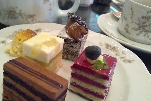 Cakes offered at Goodwood Park Hotel cafe hi-tea buffet