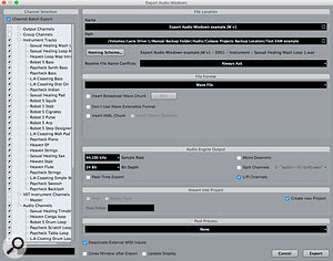 The Channel Batch Export option in the Export Audio Mixdown dialogue box makes audio-only archives very easy to generate.