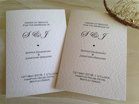 Wedding Order of Service Books   Wedding Programs from £1