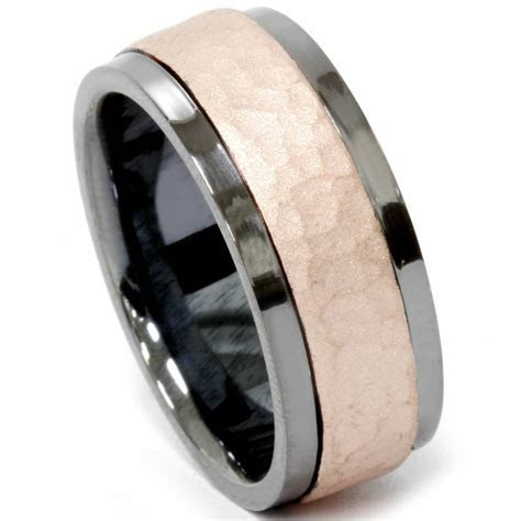 Mens Black & Hammered Rose Gold 8mm Comfort Fit Wedding