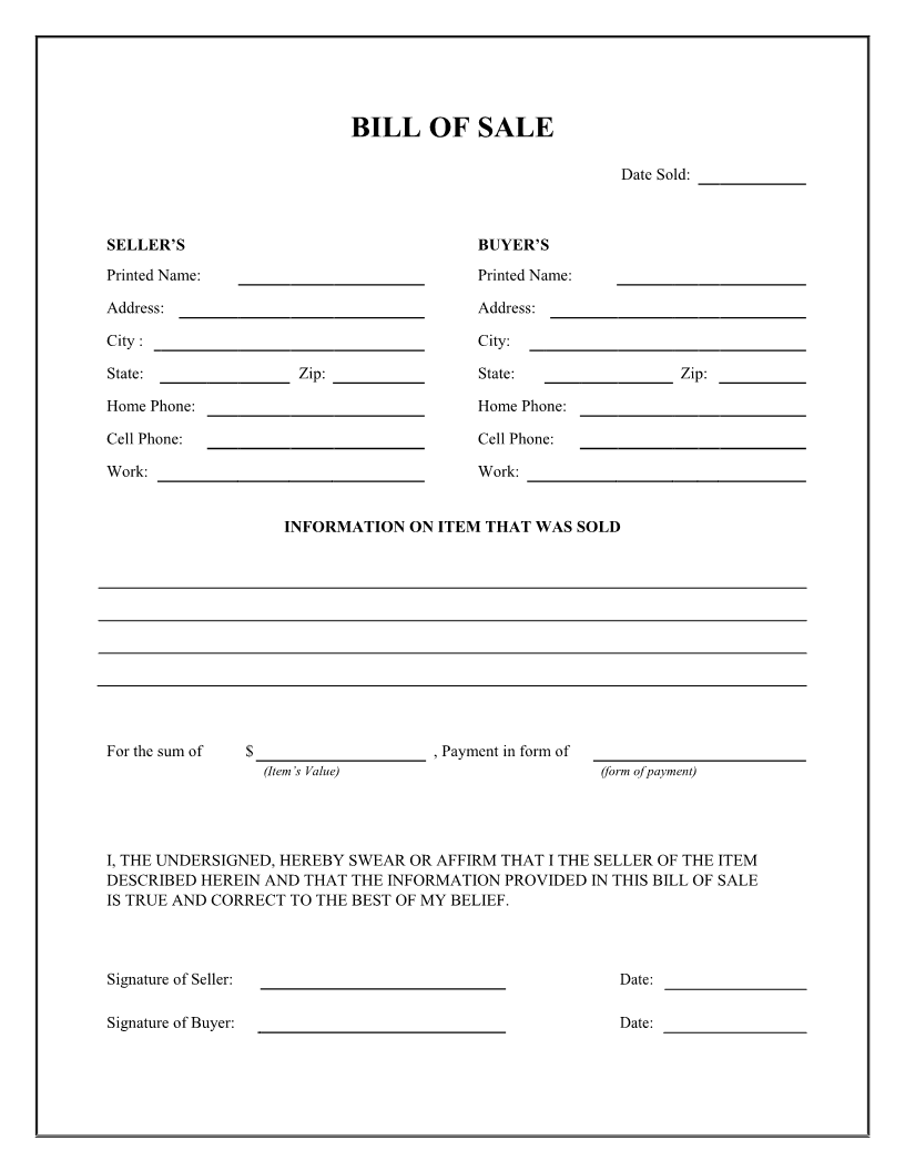 Free General Bill of Sale Form - Download PDF | Word