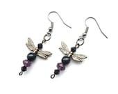 Black, Purple, Crystal & Acrylic Dragonfly Earrings